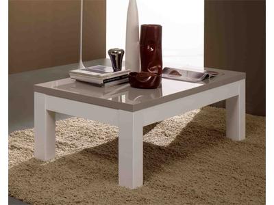 Table basse Roma laqué bicolore blanc/gris