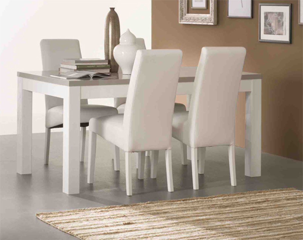 Table De Repas Roma Laque Bicolore Blanc Grisl 160 X H 76 X P 90