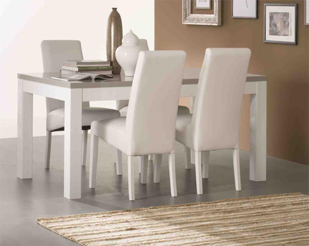 Table de repas roma laque bicolore blanc gris blanc gris l for Table de sejour blanc laque