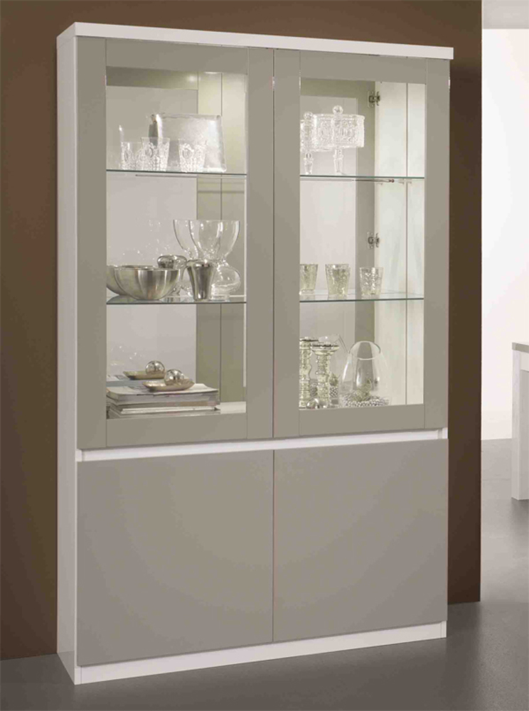 vitrine 2 portes roma laque bicolore blanc gris blanc gris. Black Bedroom Furniture Sets. Home Design Ideas