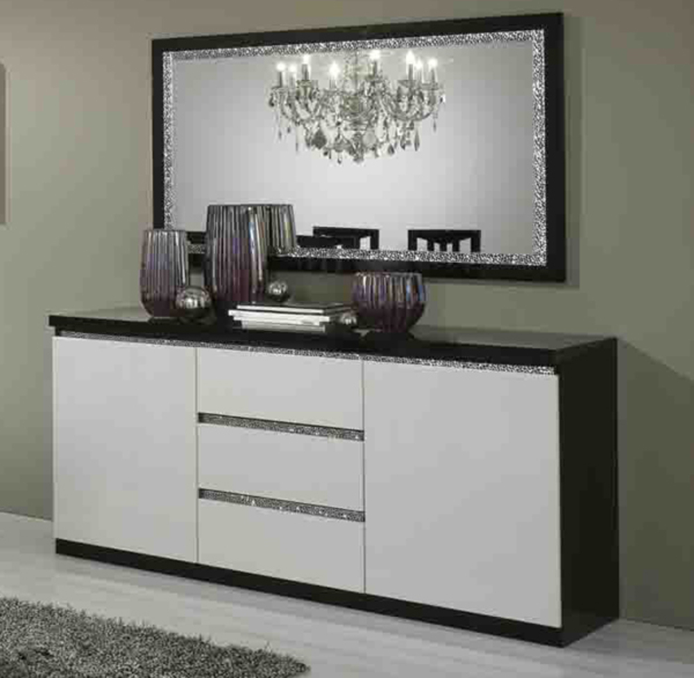 bahut 2 portes 3 tiroirs cromo laque bicolore noir blanc. Black Bedroom Furniture Sets. Home Design Ideas