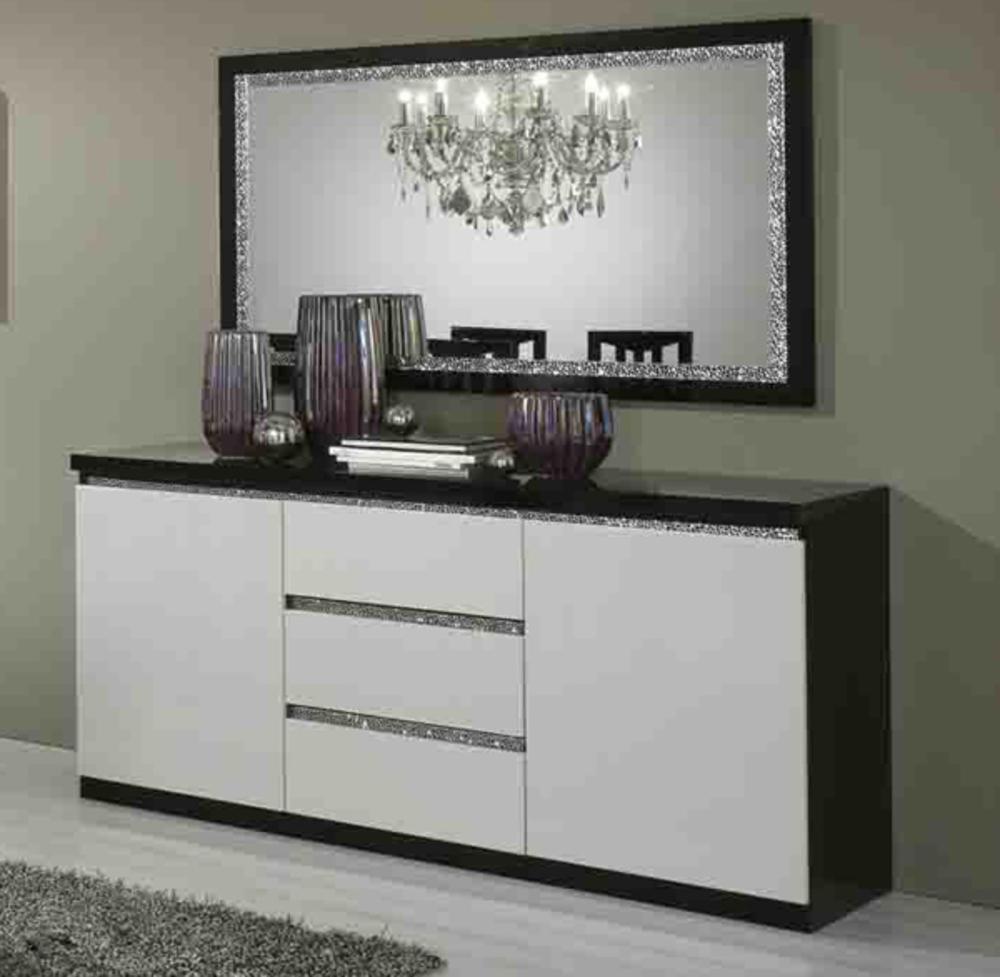 Bahut 2 portes 3 tiroirs cromo laque bicolore noir blanc for Bahut 3 portes 3 tiroirs