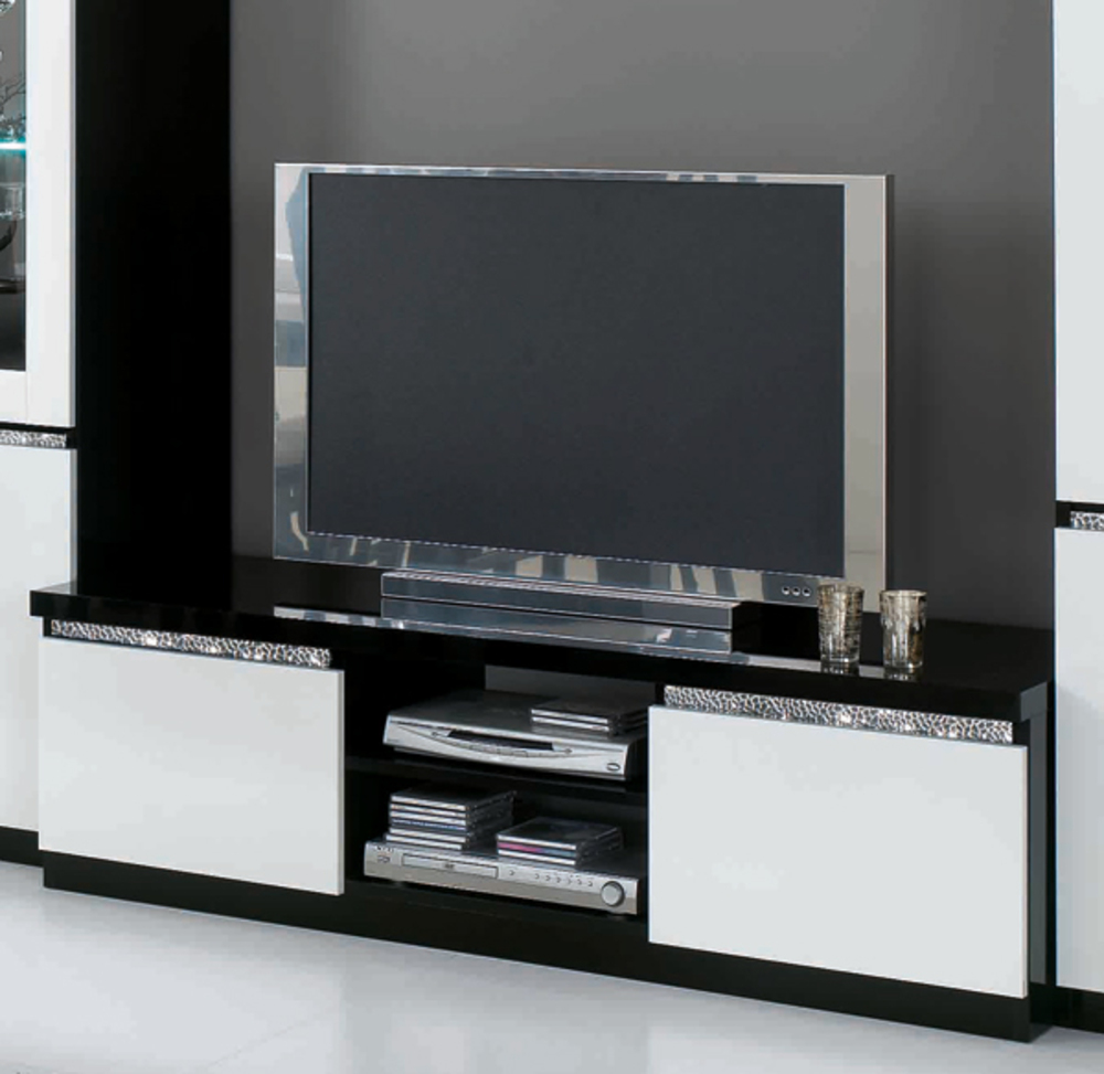 meuble tv plasma cromo laque bicolore noir blanc. Black Bedroom Furniture Sets. Home Design Ideas