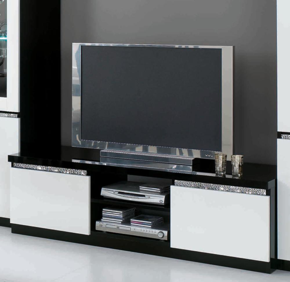Meuble tv plasma cromo laque bicolore noir blanc for Meuble tele noir