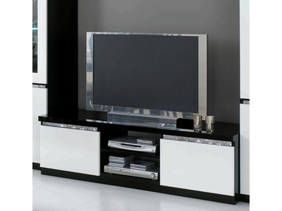 Meuble tv plasma cromo laque blanc for Mini meuble tv