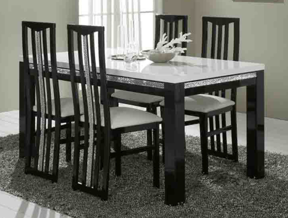 table de repas cromo laque bicolore noir blanc l 160 x h. Black Bedroom Furniture Sets. Home Design Ideas