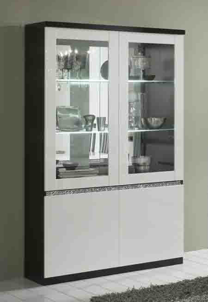 vitrine 2 portes avec leds cromo laque bicolore noir blanc. Black Bedroom Furniture Sets. Home Design Ideas