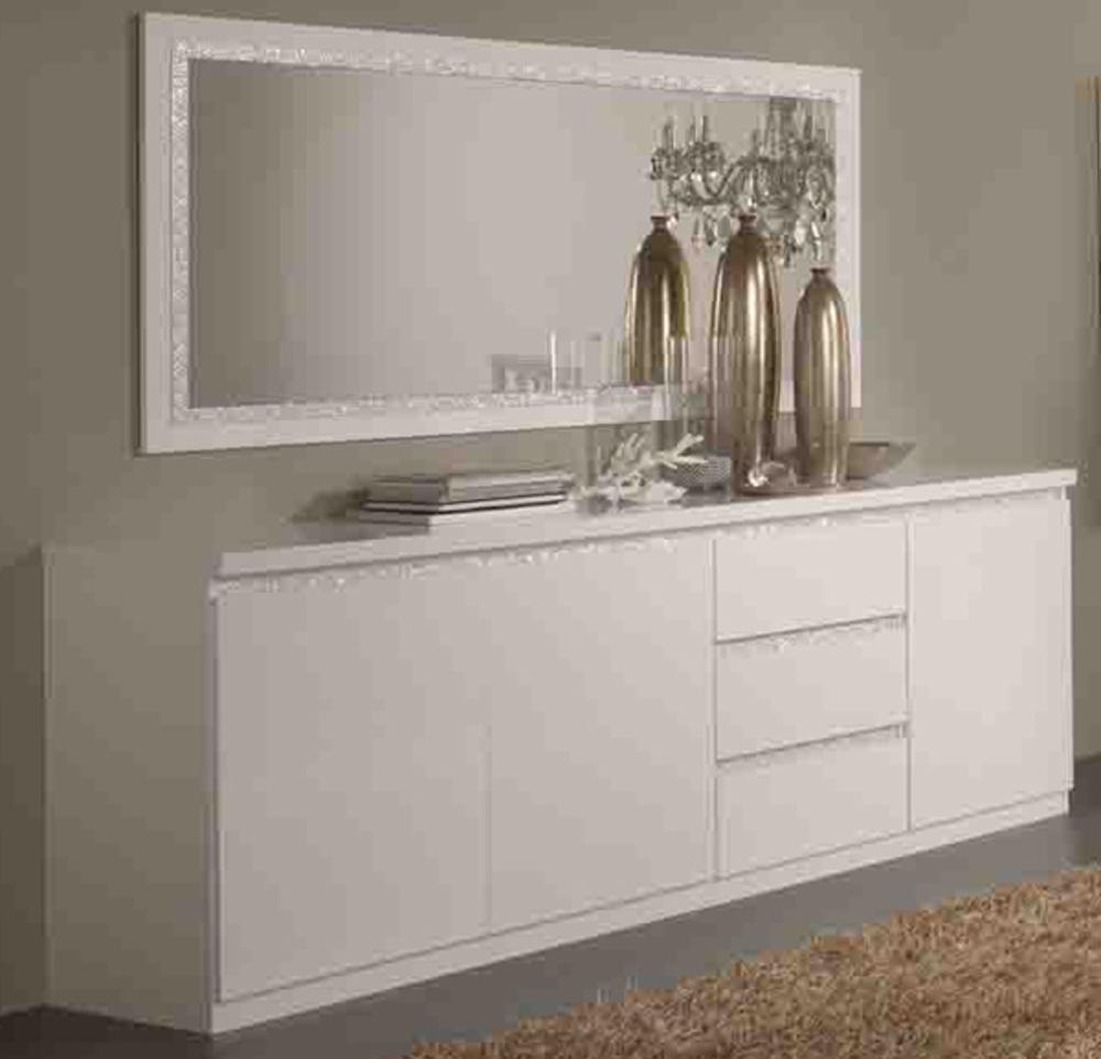 Bahut 3 portes 3 tiroirs cromo laque blanc blanc - Porte interieur blanc laque ...