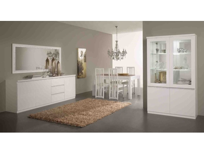 Bahut 3 portes 3 tiroirs Cromo  laque blanc