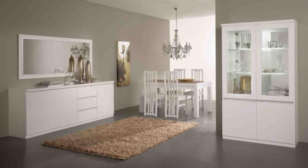 Bahut 3 portes 3 tiroirs cromo laque blanc for Meuble salle a manger blanc