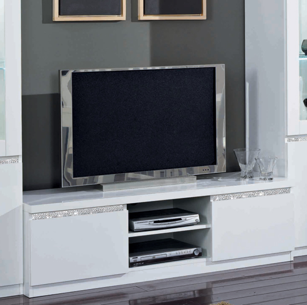 meuble tv plasma cromo laque blanc blanc. Black Bedroom Furniture Sets. Home Design Ideas