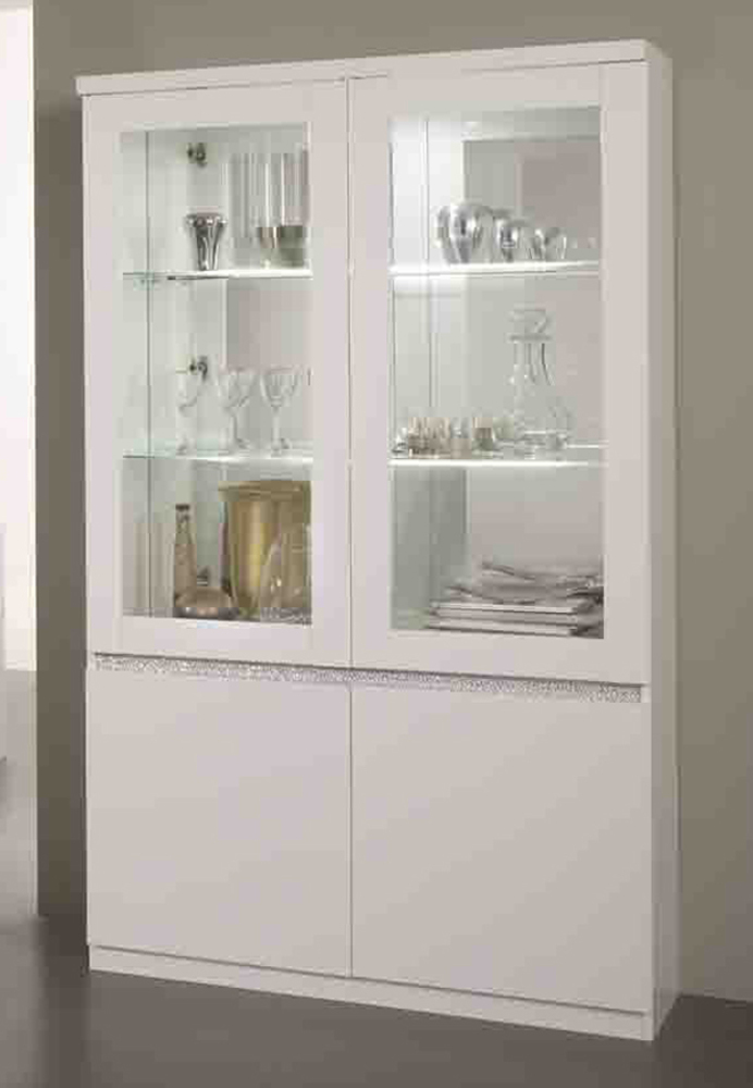 vitrine 2 portes avec leds cromo laque blanc. Black Bedroom Furniture Sets. Home Design Ideas