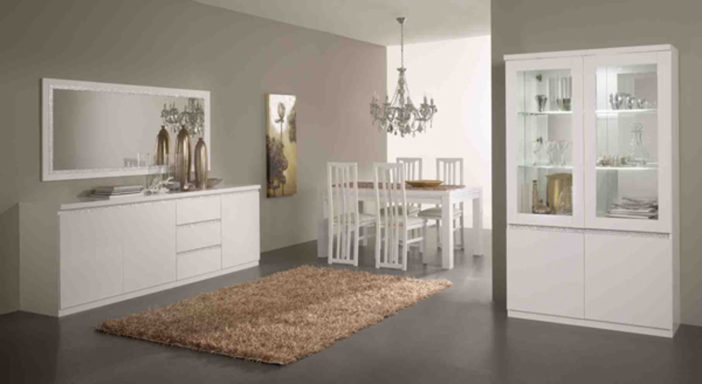 Vitrine 2 portes cromo laque blanc for Meuble salle a diner