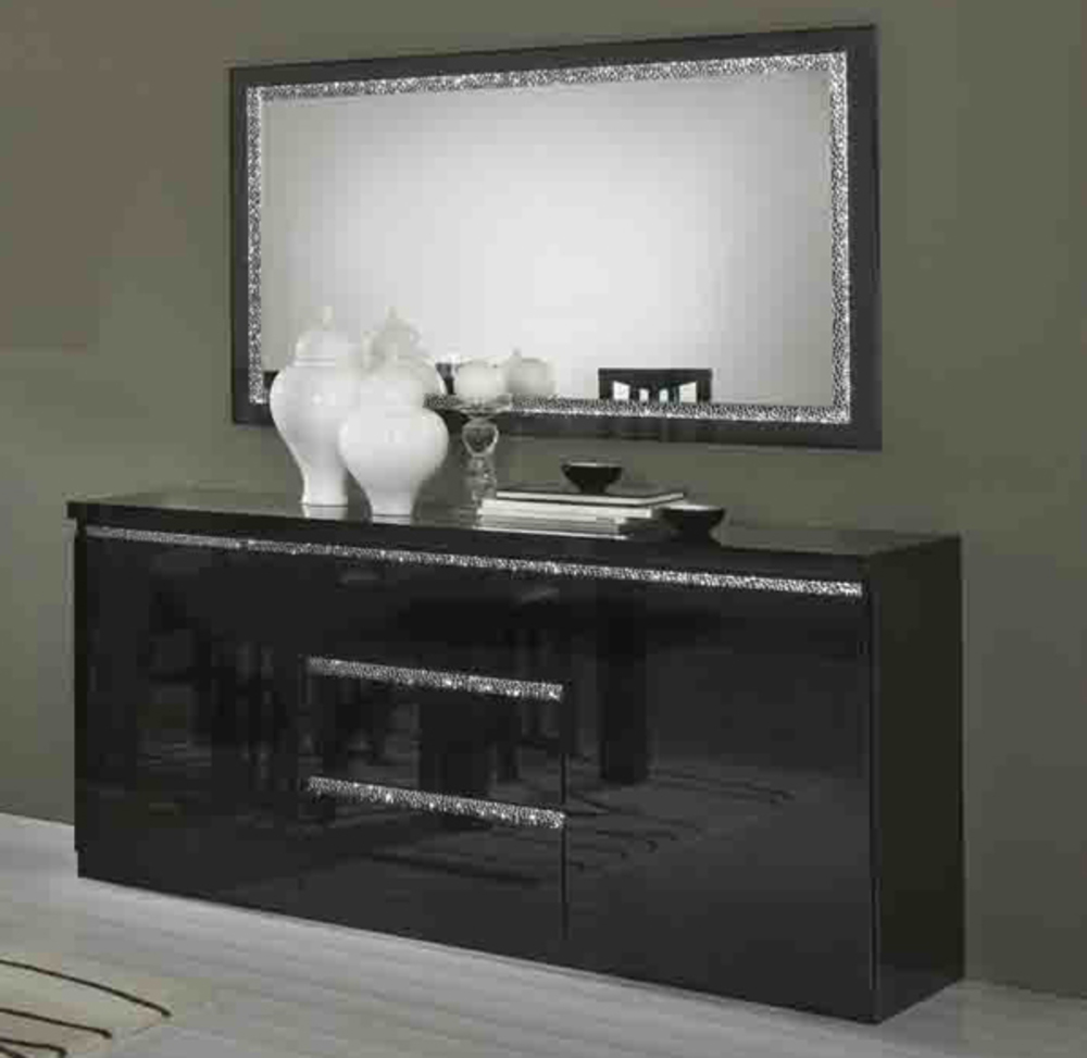 bahut 2 portes 3 tiroirs cromo laque noir. Black Bedroom Furniture Sets. Home Design Ideas