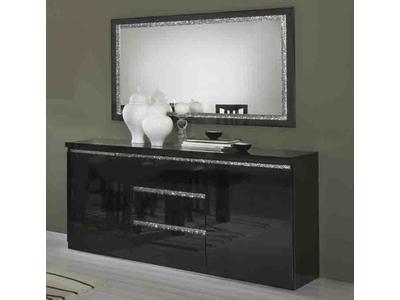 Bahut 2 portes 3 tiroirs Cromo  laque noir