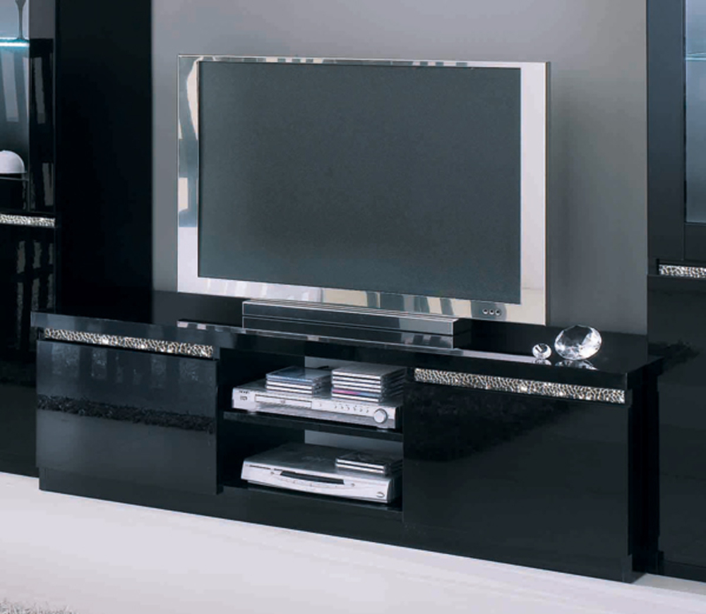 meuble tv plasma cromo laque noir noir. Black Bedroom Furniture Sets. Home Design Ideas