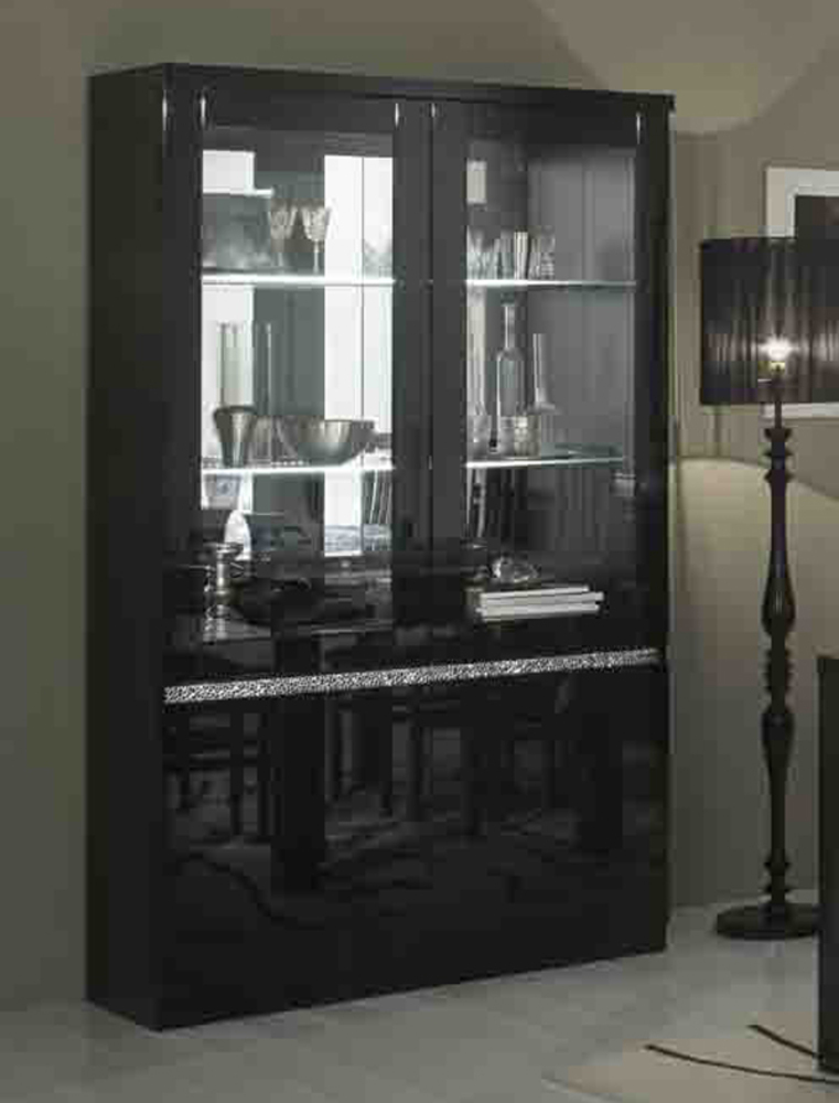 vitrine 2 portes avec leds cromo laque noir. Black Bedroom Furniture Sets. Home Design Ideas