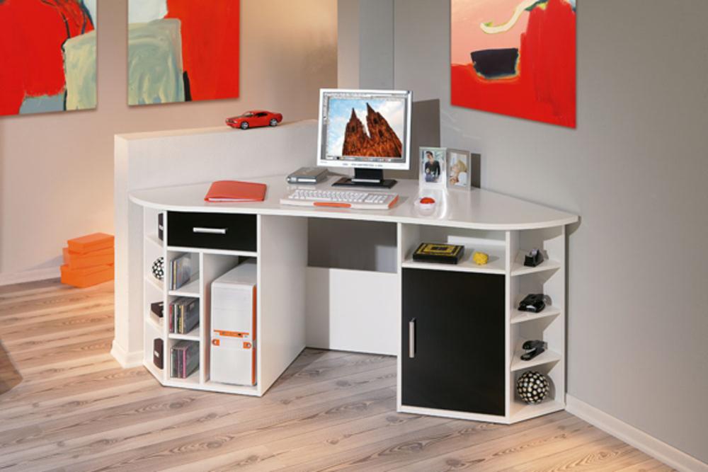 Meuble bureau angle bureau d 39 angle fabri blanc for Meuble bureau usage montreal