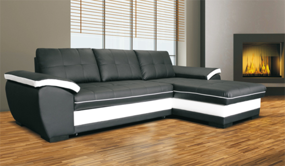 Canape d 39 angle droite convertible marc convertible noir for Canape lit pour dormir tous les jours