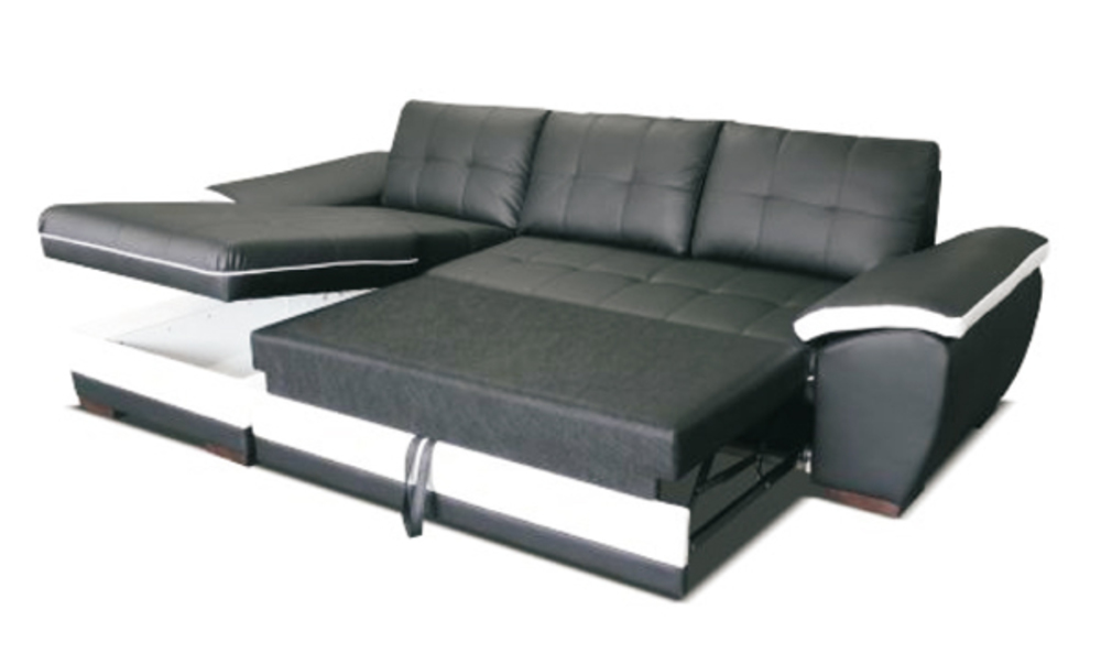 Canape d 39 angle droite convertible marc convertible noir blanc - Canape d angle 2 places meridienne ...