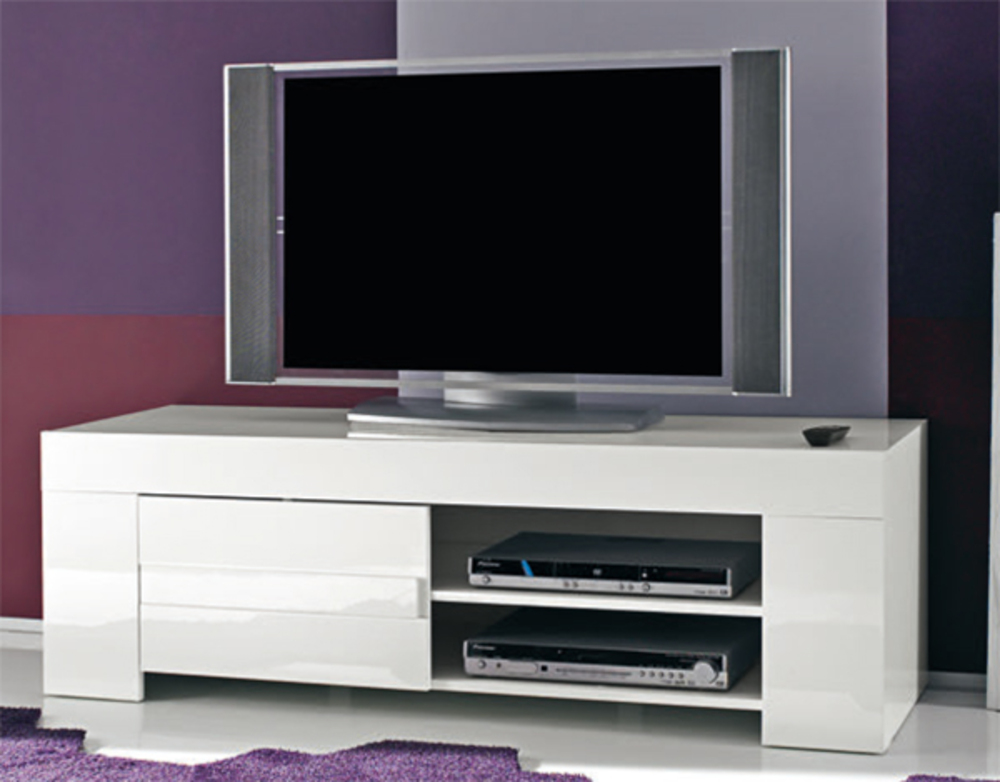 Meuble tv messina laque blanc laque blanc l 140 x h 45 x p 50 for Meuble blanc tv
