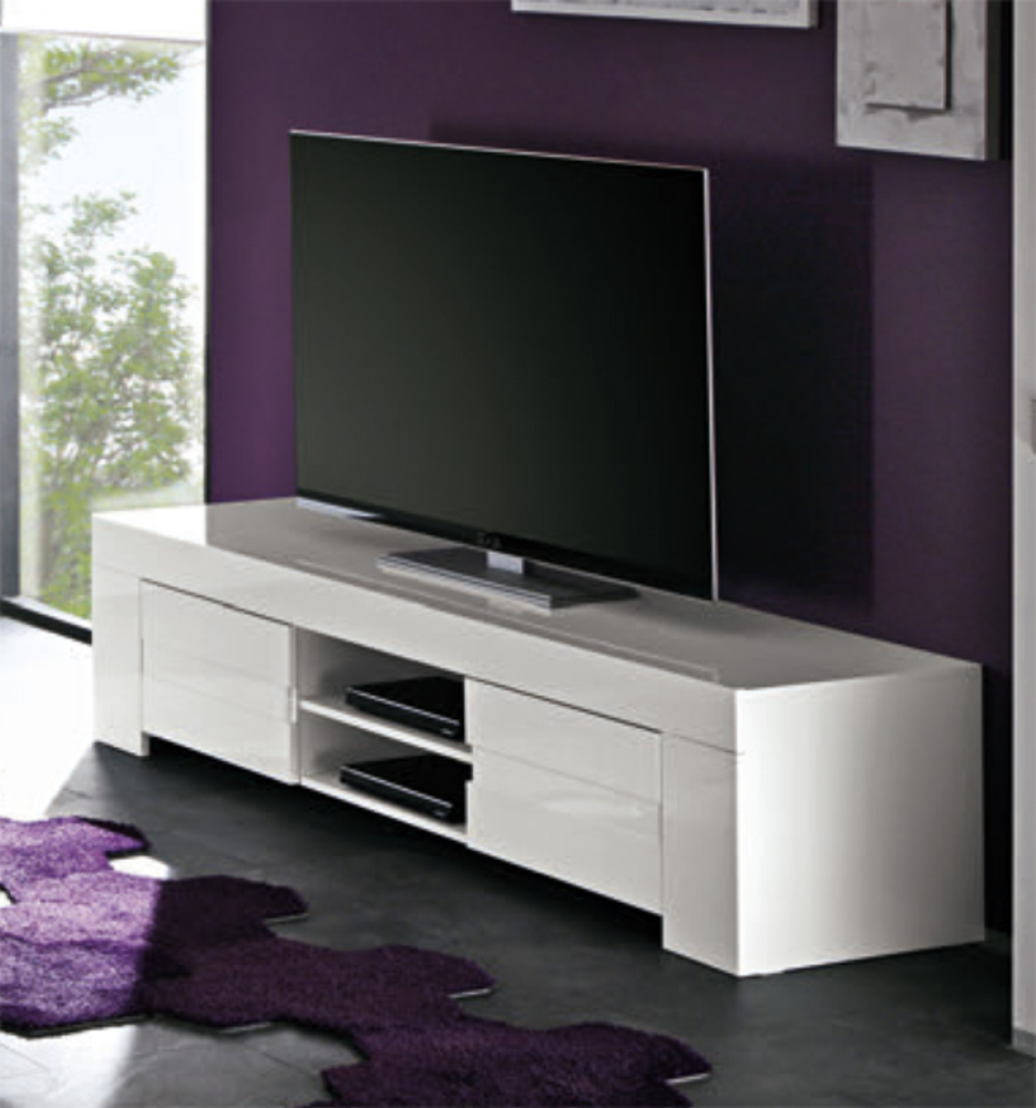 Meuble tv messina laque blancl 191 x h 45 x p 50 for Meuble tv bas blanc laque