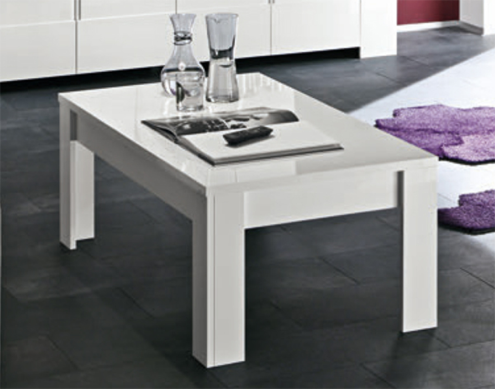 Table basse messina laque blanc - Table salon modulable hauteur ...