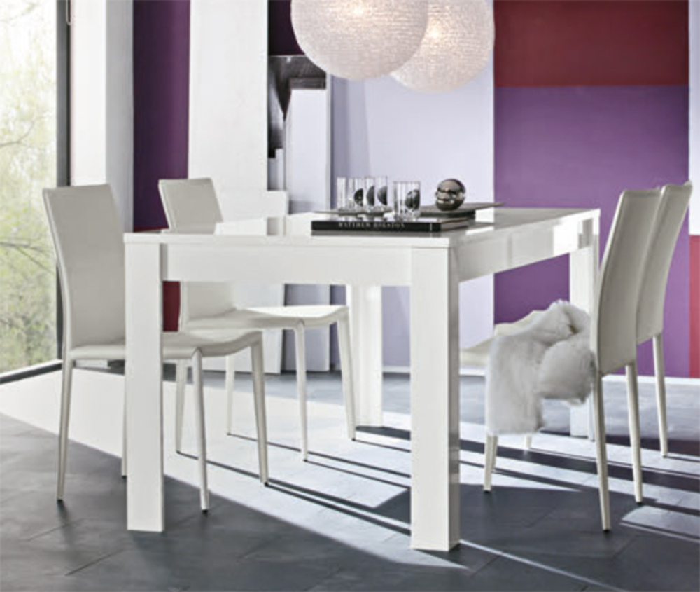 Table de repas messina laque blancl 180 x h 79 x p 90 - Table blanc laque rallonge ...