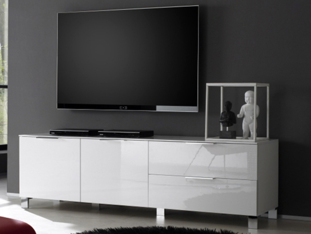 Meuble tv grand modele sola blanc for Grand meuble tv blanc laque