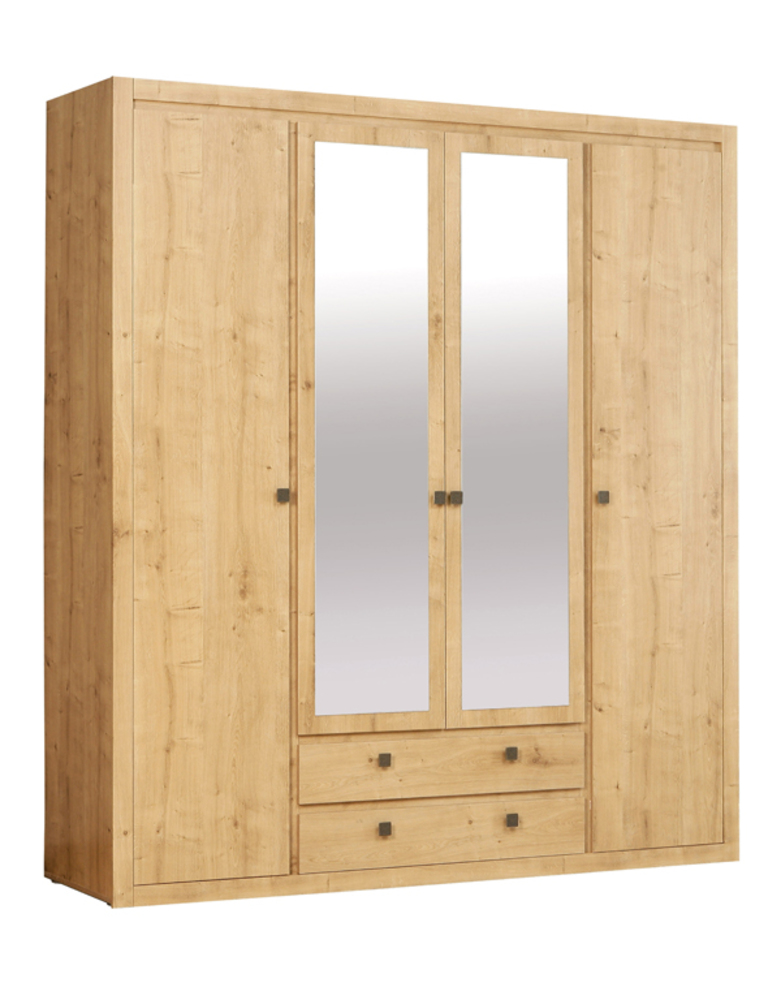 Armoire 4 portes 2 tiroirs indigo chambre a coucher chene for Armoire chambre coucher