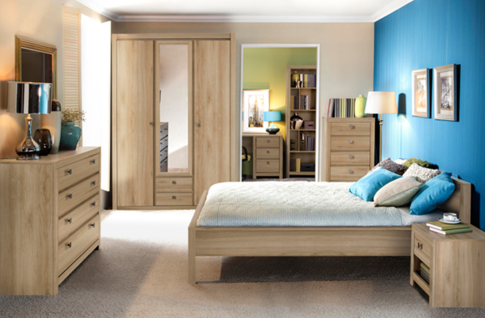 armoire 4 portes 2 tiroirs indigo chambre a coucher chene clair. Black Bedroom Furniture Sets. Home Design Ideas