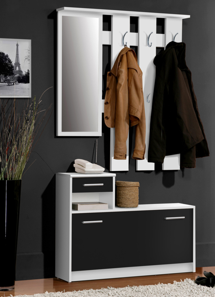 vestiaire foxi blanc noir. Black Bedroom Furniture Sets. Home Design Ideas