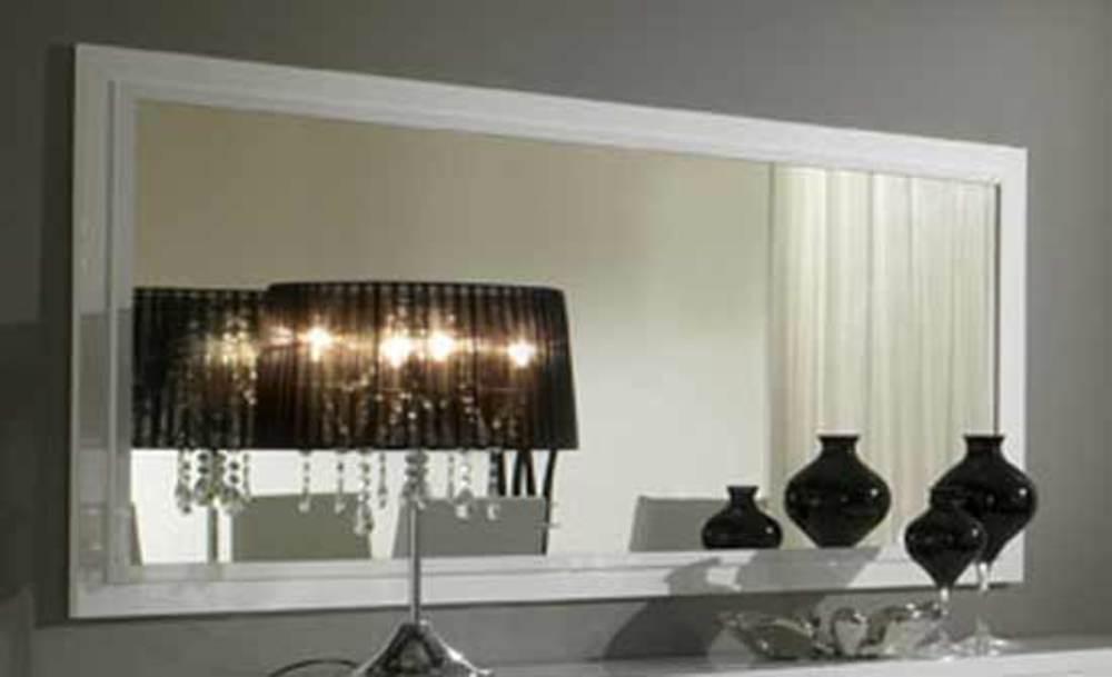 Miroir tania laque blanc blanc laque l 180 x h 85 for Miroir blanc laque