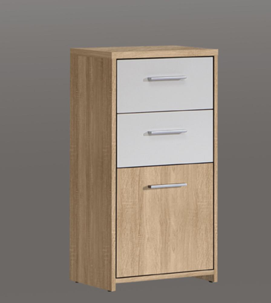 commode 1 porte 2 tiroirs quadro ch ne clair blanc. Black Bedroom Furniture Sets. Home Design Ideas