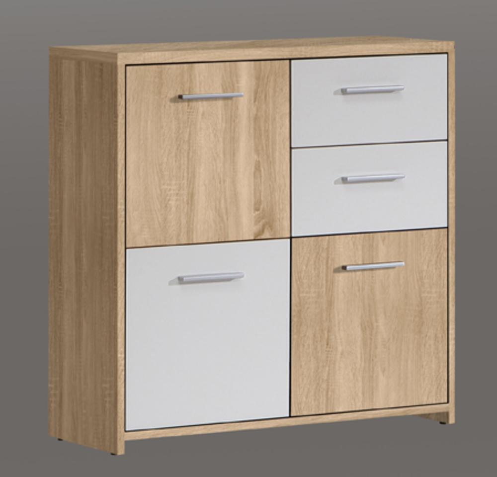 commode 3 portes 2 tiroirs quadro ch ne clair blanc. Black Bedroom Furniture Sets. Home Design Ideas