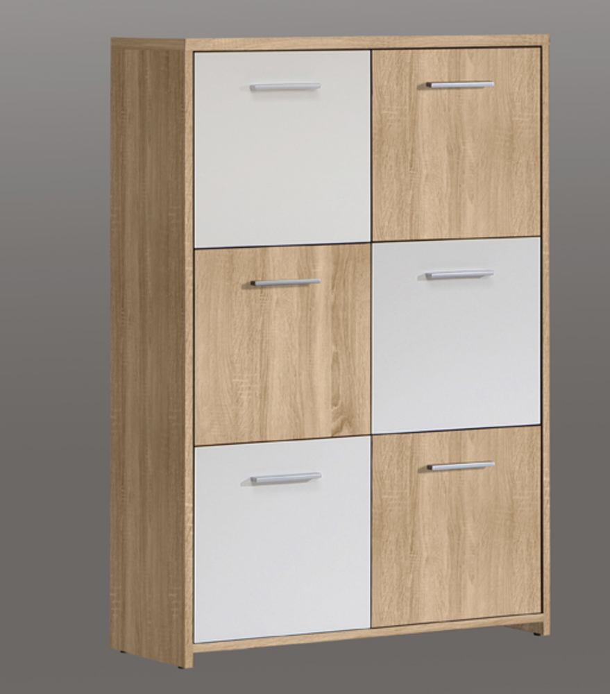 Commode 6 portes quadro ch ne clair blanc for Porte 2 couleurs