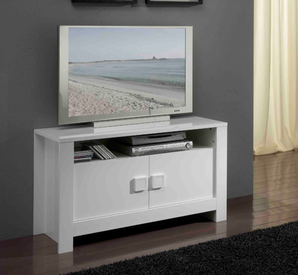 Meuble tv pisa laqu e blanc - Grand meuble tv blanc ...
