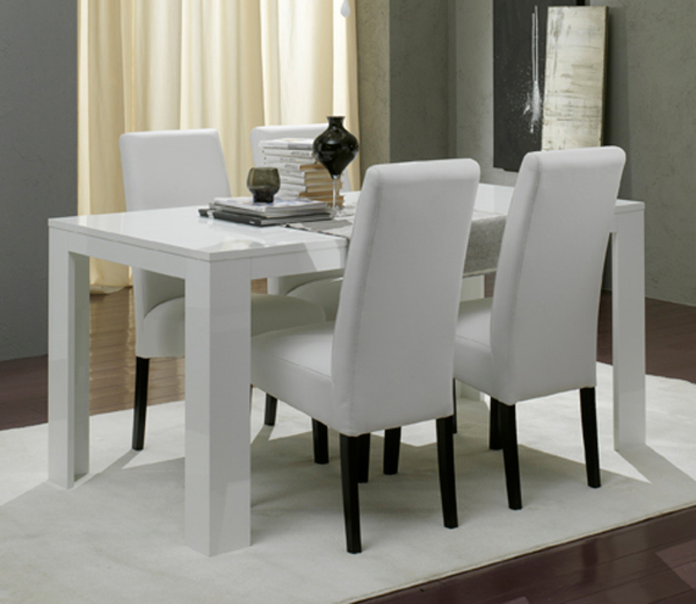 table de repas pisa laquee blanc blanc l 190 x h 77 x p 90. Black Bedroom Furniture Sets. Home Design Ideas