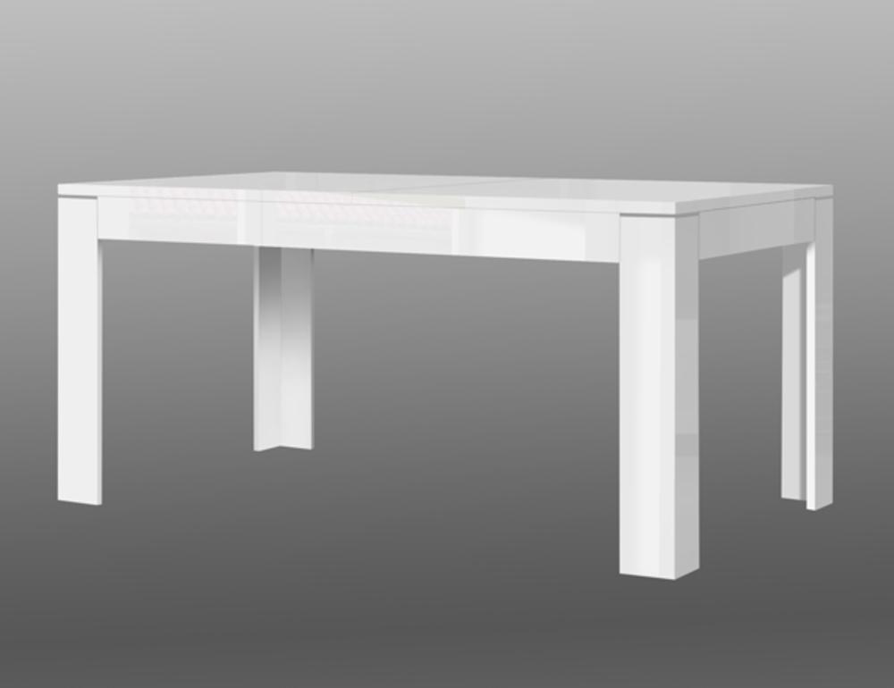 table repas extensible slate blanc brillant. Black Bedroom Furniture Sets. Home Design Ideas