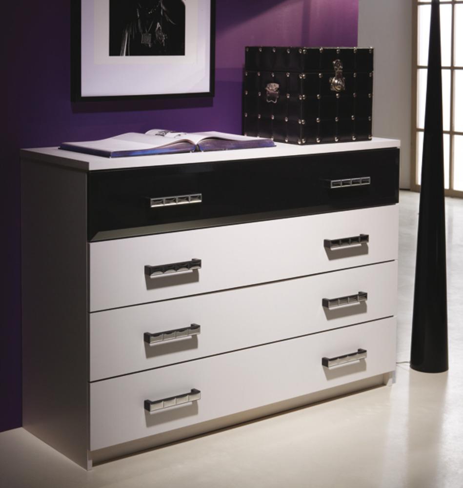 commode 4 tiroirs escape blanc noir. Black Bedroom Furniture Sets. Home Design Ideas