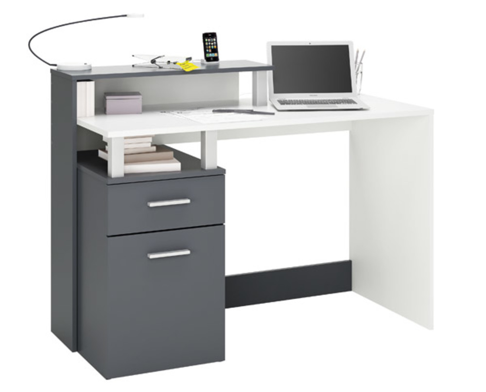 Bureau multimedia 1 porte 1 tiroir oracle blanc graphite for Bureau gris et blanc