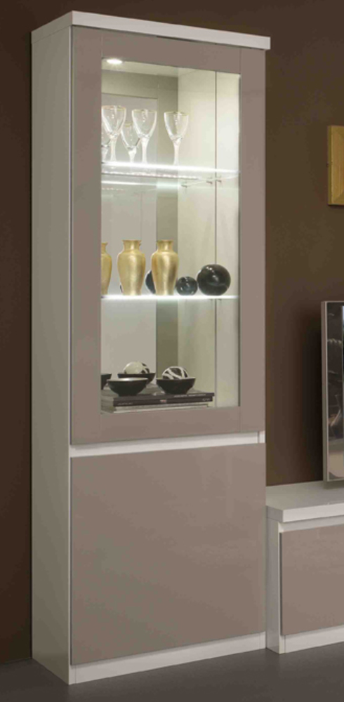 vitrine 1 porte roma laqu bicolore blanc gris. Black Bedroom Furniture Sets. Home Design Ideas