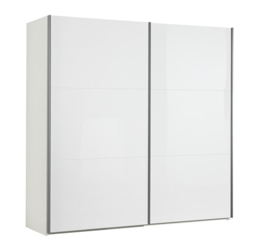 Armoire 2 portes coulissantes unico 2 blanc brillant l 151 x h 200 x p 63 5 - Cout porte coulissante ...