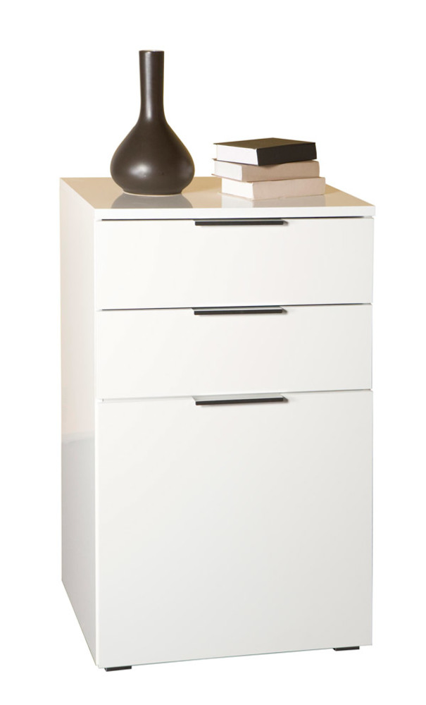 meuble de rangement 1 porte et 2 tiroirs bolero blanc brillant. Black Bedroom Furniture Sets. Home Design Ideas