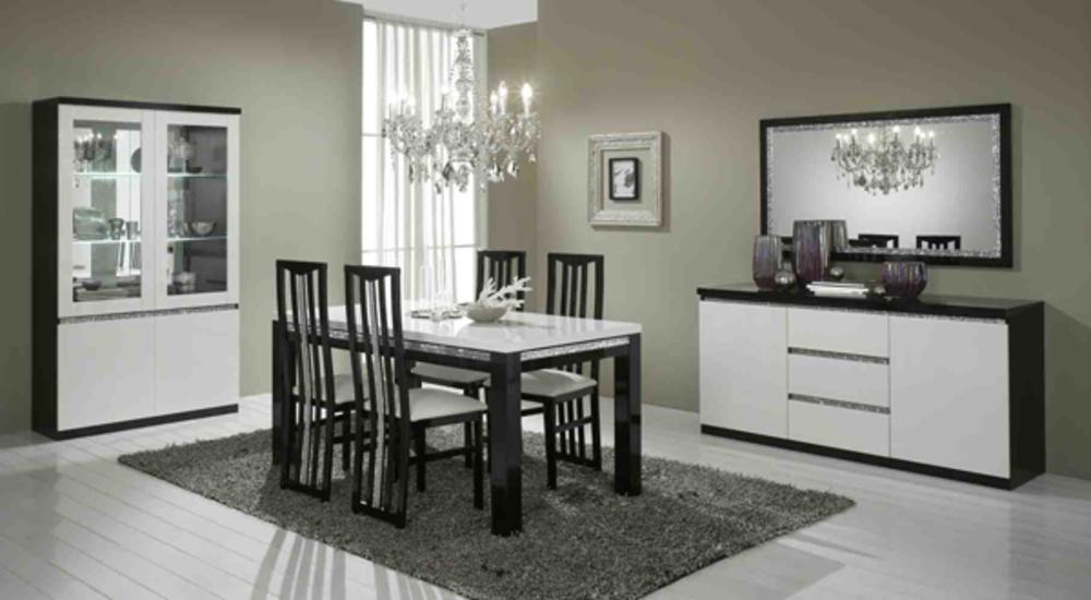 Chaise de sejour cromo laque bicolore noir blanc for Salle a manger noir