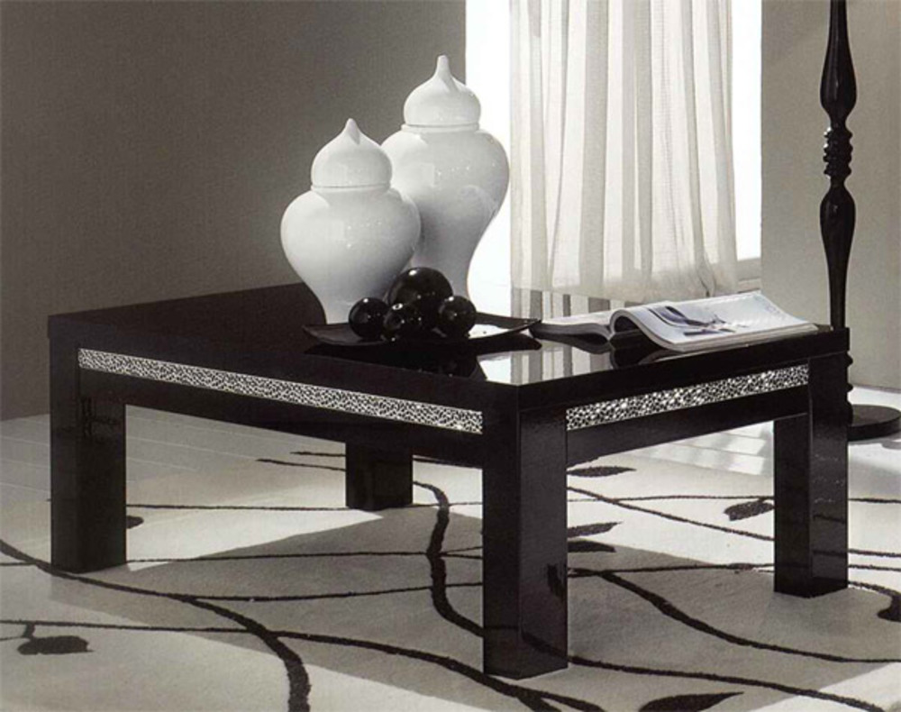 table basse cromo laque noir noir. Black Bedroom Furniture Sets. Home Design Ideas