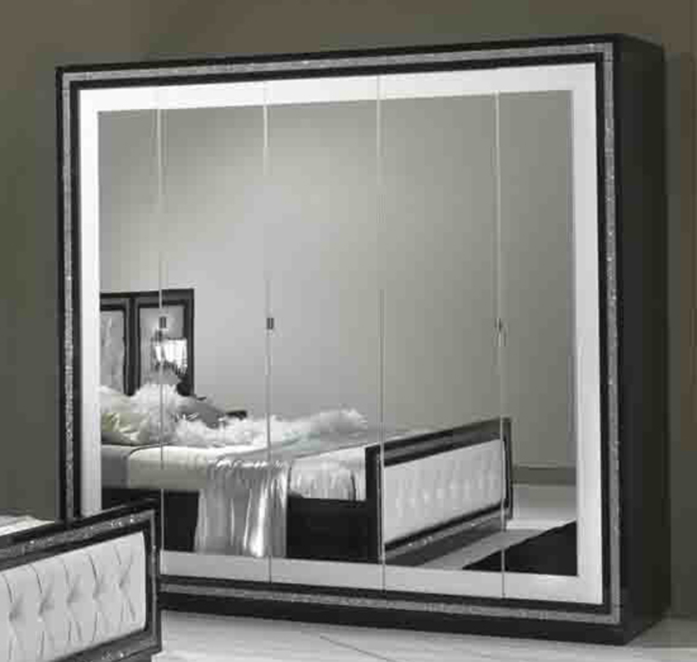armoire 5 portes krystel laque bicolore noir blanc. Black Bedroom Furniture Sets. Home Design Ideas