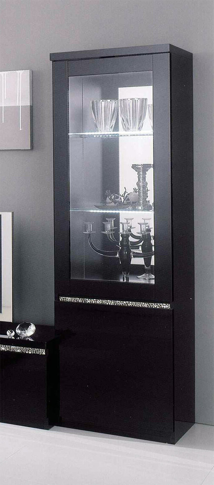 vitrine 1 porte cromo laque noir noir. Black Bedroom Furniture Sets. Home Design Ideas