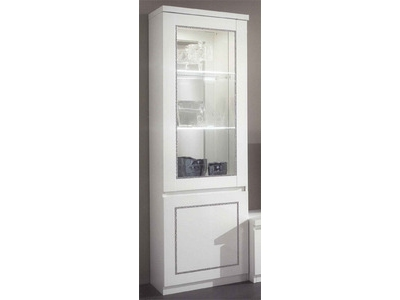 vitrine 1 porte chic laque blanc blanc. Black Bedroom Furniture Sets. Home Design Ideas
