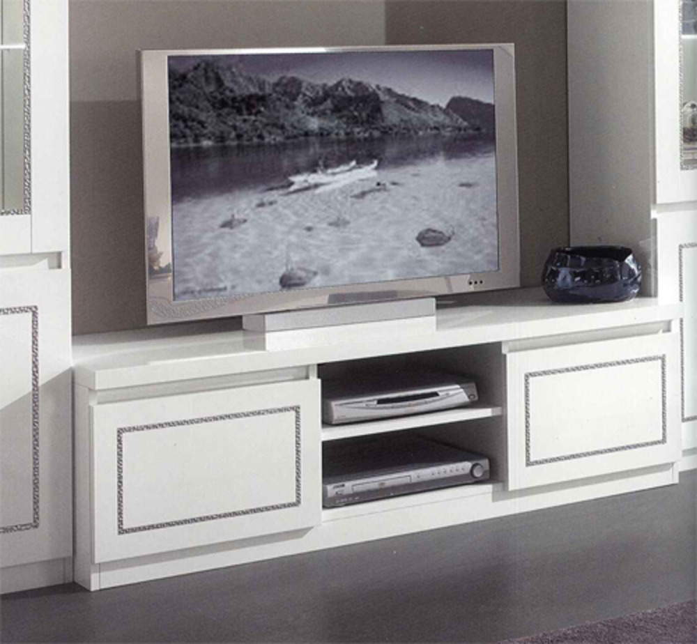 Meuble tv plasma chic laque blanc for Meuble hifi blanc